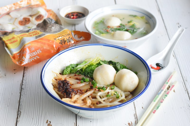 Fishball Mee Tak Bak (Silver Needle Noodles) Soup & Dry