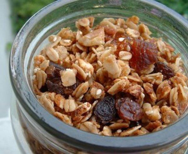 Homemade crunchy granola.