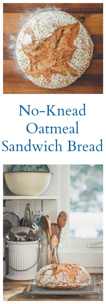 No-Knead Oatmeal Sandwich Bread - Vegan, Oil-Free