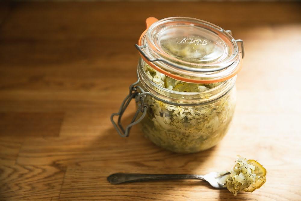 dill pickle sauerkraut in le parfait jar