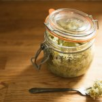 dill pickle sauerkraut in le parfait jar