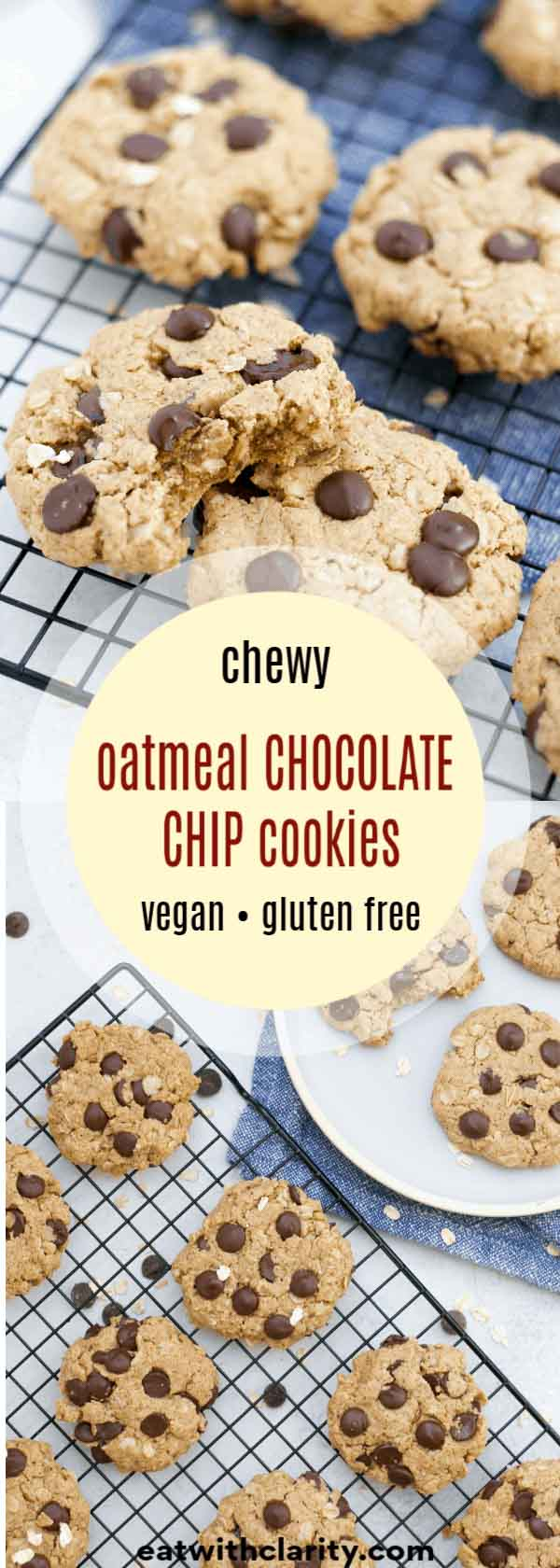 Want a bite of these vegan oatmeal chocolate chip cookies?