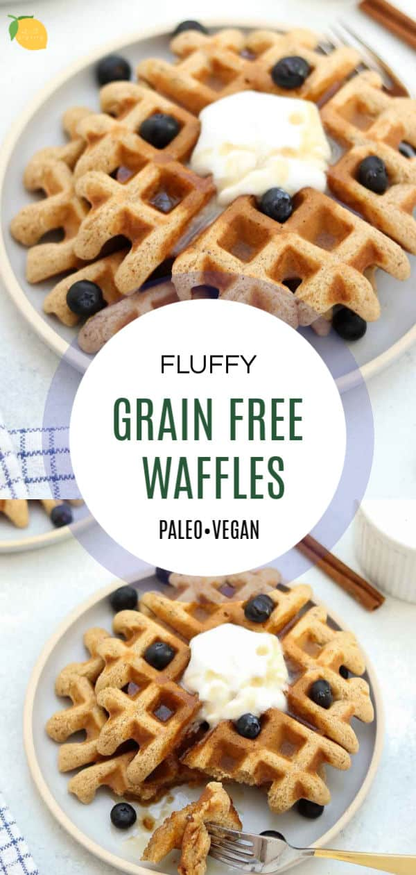 Save this recipe for vegan almond flour waffles for later!