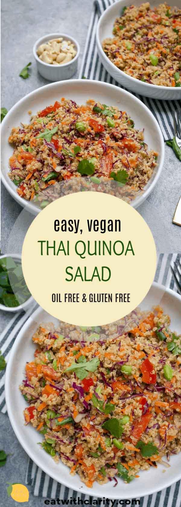 Save this vegan thai quinoa salad recipe for later!