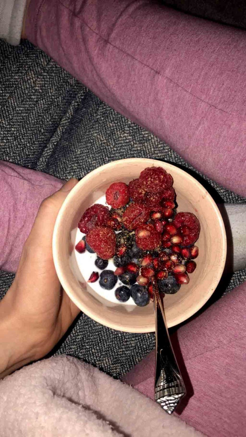 For this what I eat in a day, I had some berries and coconut cream for dessert.