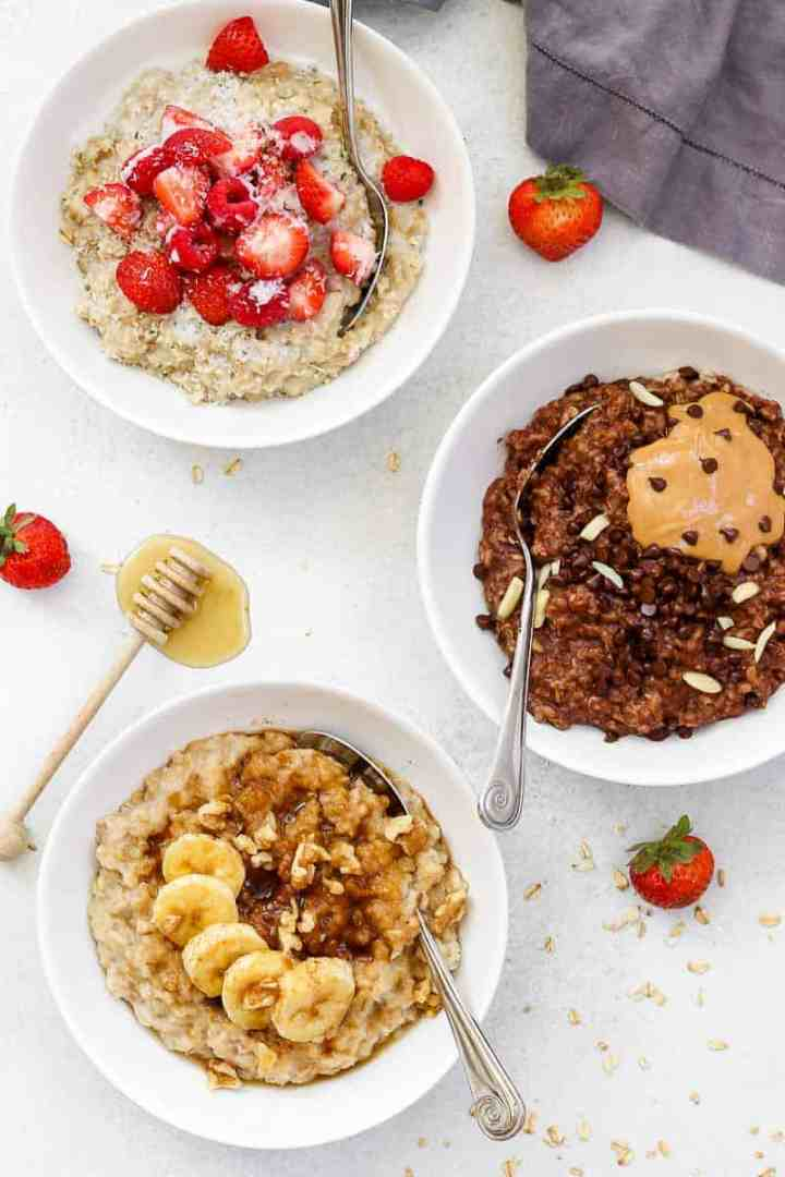 Three healthy oatmeal recipes in white bowls.