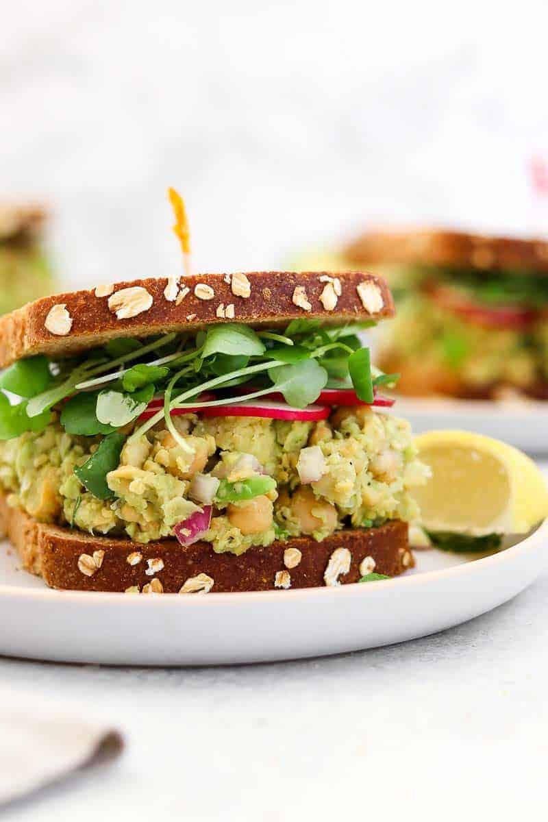 Sandwich on a blue plate.