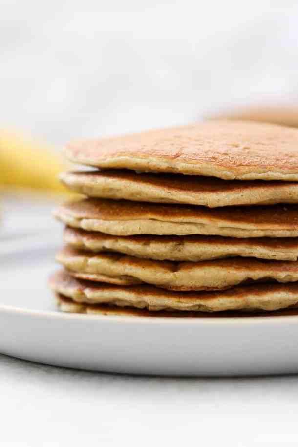 Plain stack of pancakes.