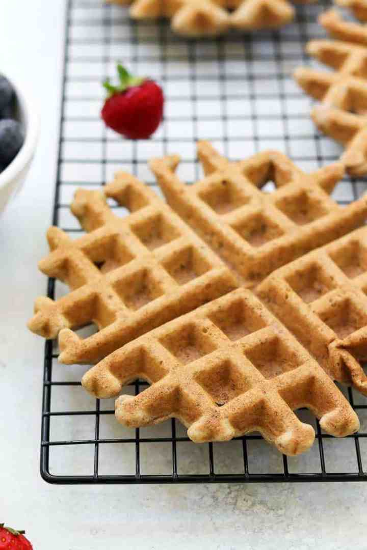 Belgian waffle on a cooling rack.