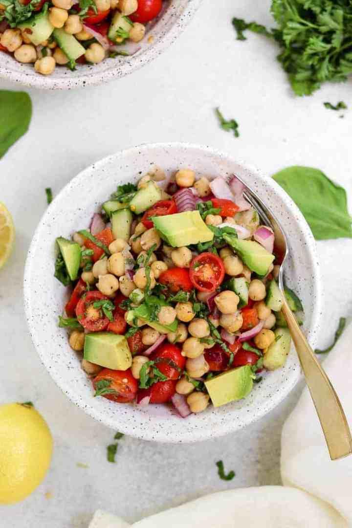 Mediterranean chickpea salad with avocado.