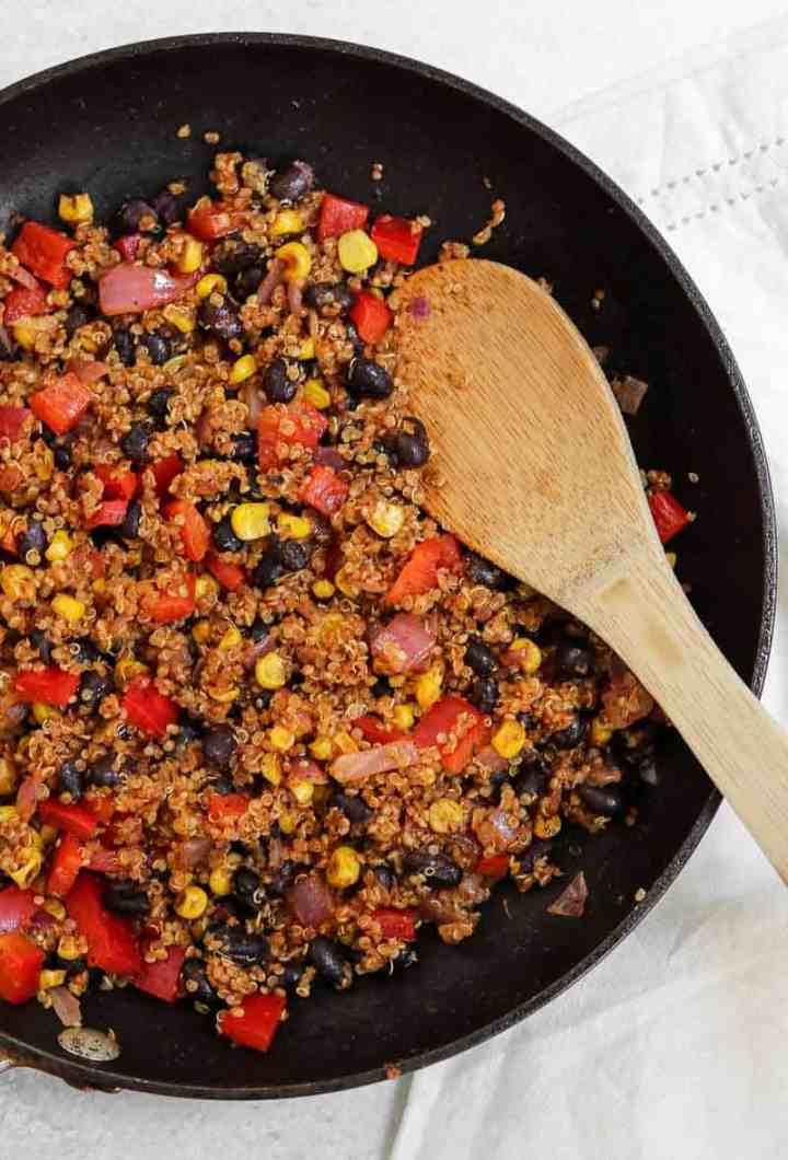 Mexican quinoa and black bean potato filling.