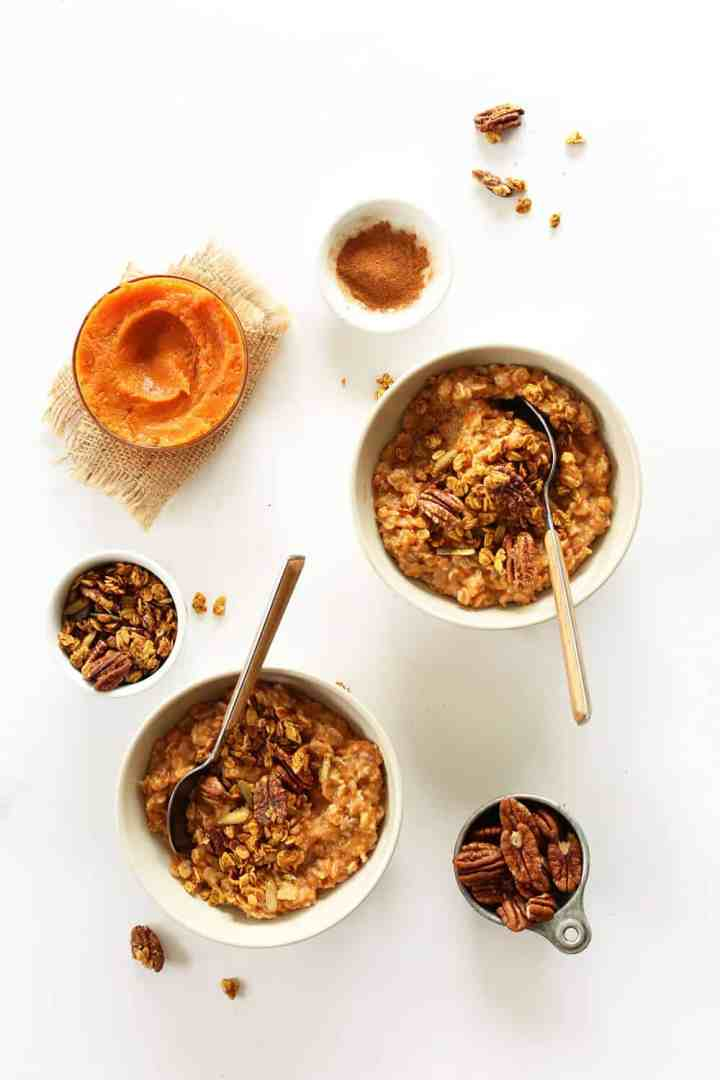 Sweet potato oatmeal in two white bowls.