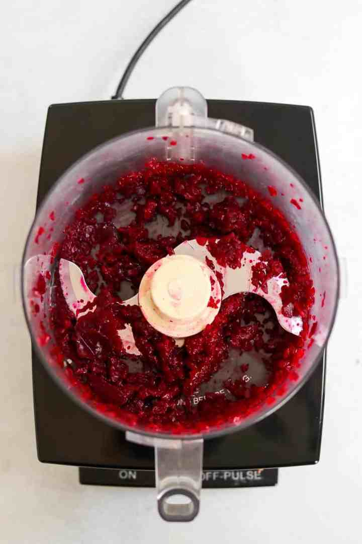 Beets after getting processed in a food processor.