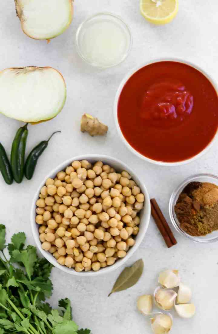 Ingredients for the chana masala.