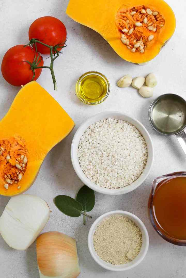 Ingredients for the butternut squash risotto recipe.