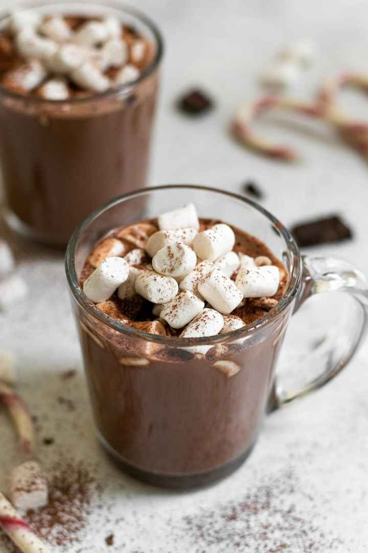 Vegan hot chocolate with marshmallows on top.