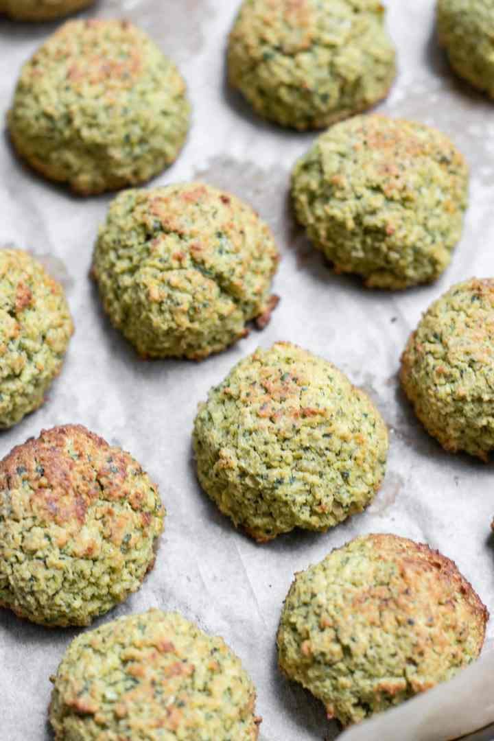 Vegan baked falafel after going in the oven.