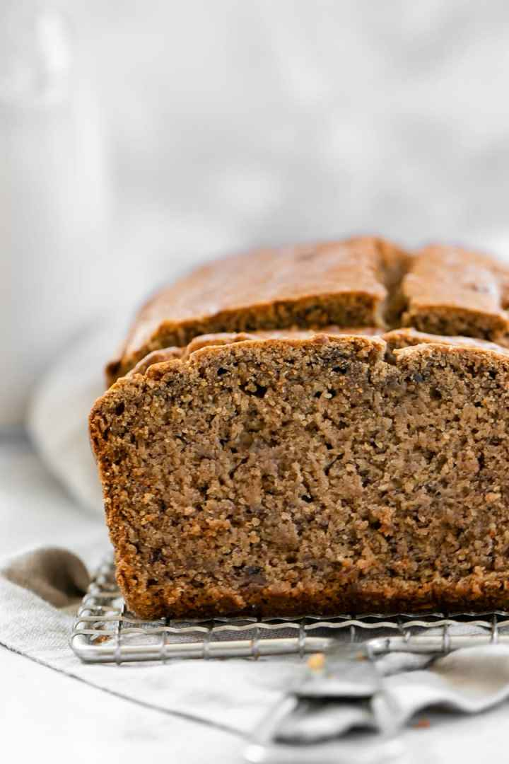 Up close image of healthy banana bread to show texture.