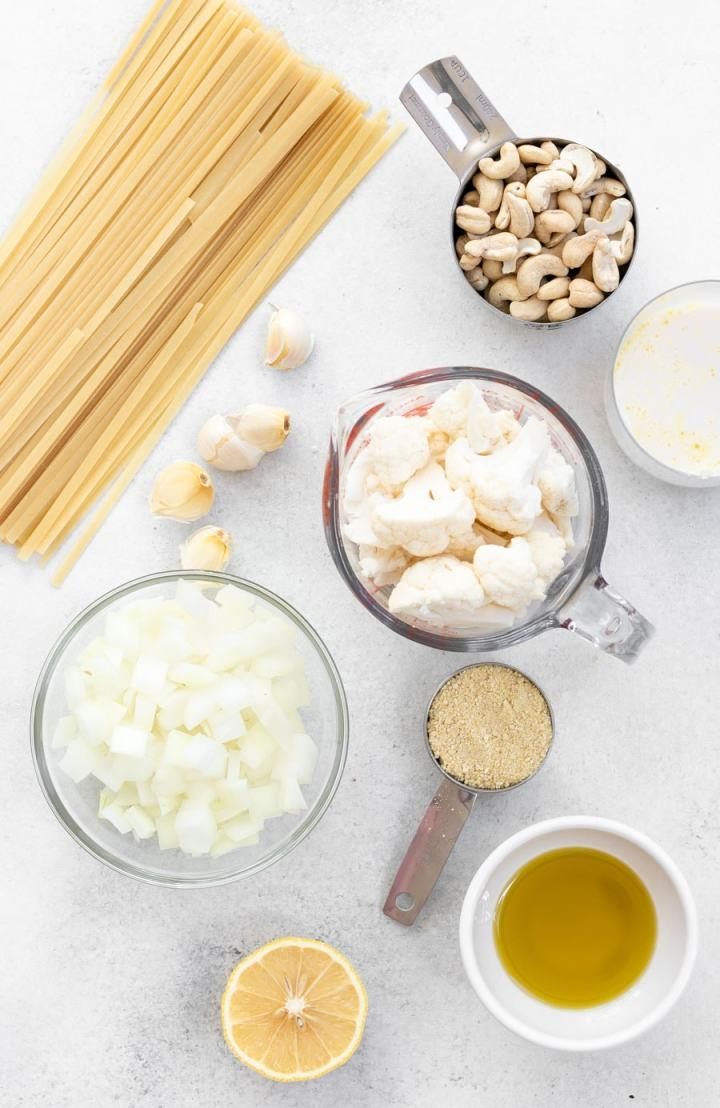 Ingredients for the recipe arranged on a backdrop.