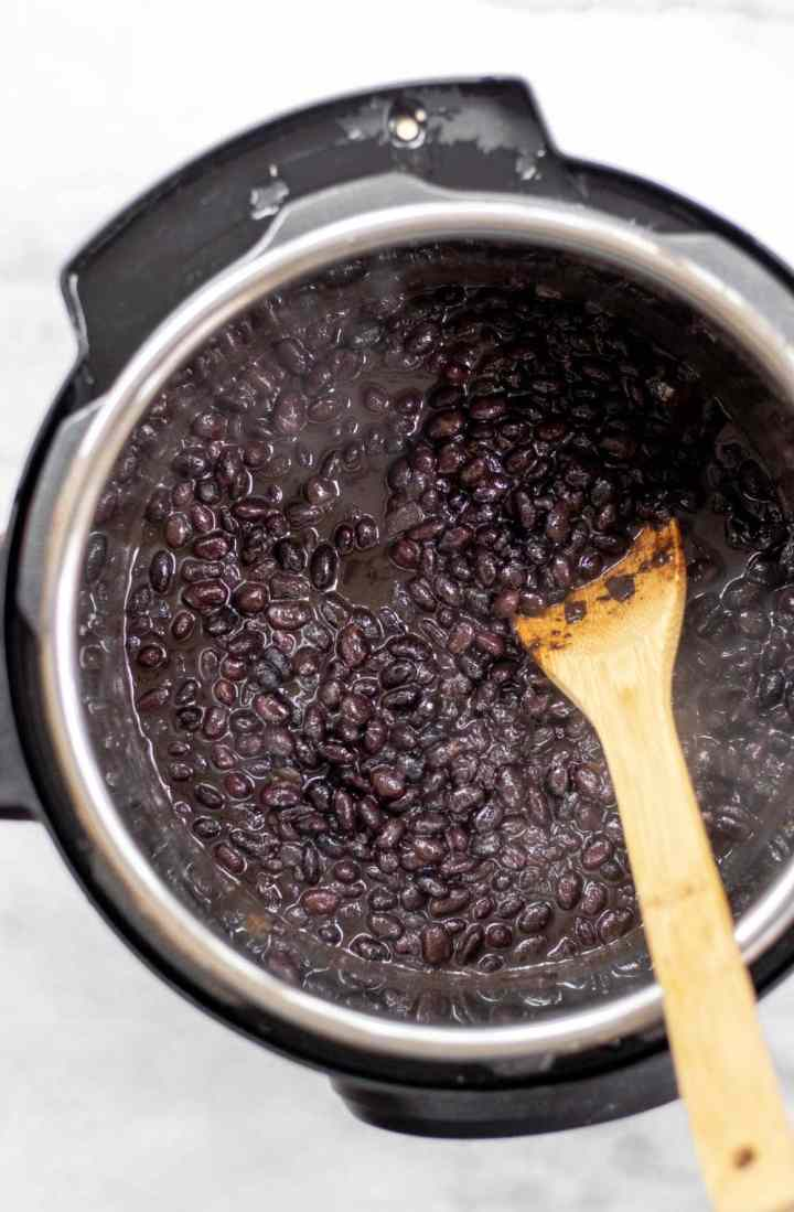 Instant pot beans in the instant pot after cooking.