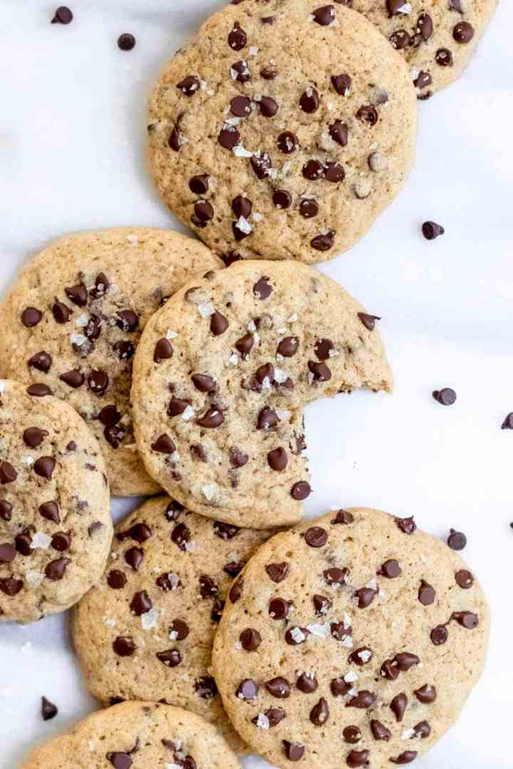 Dairy free chocolate chip cookies on top of each other.
