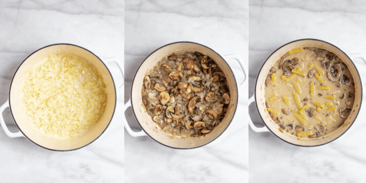 Showing how to make the recipe with three process shots.