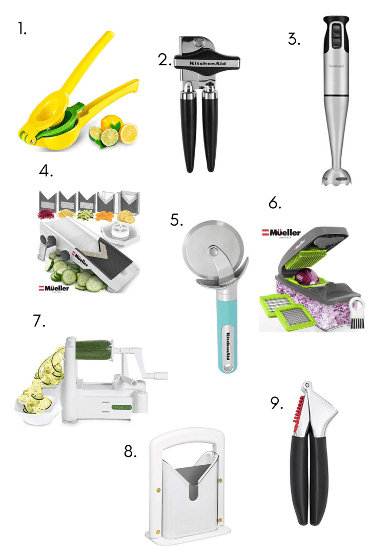 Collage of small gadgets for the kitchen.