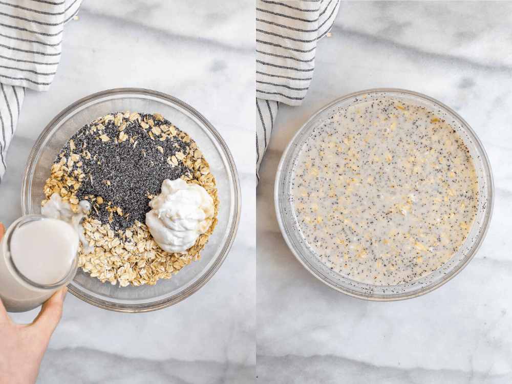 Two photos showing the process of making the recipe.