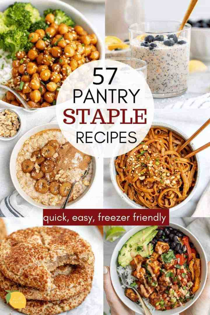 Collage showing pantry staple recipes.