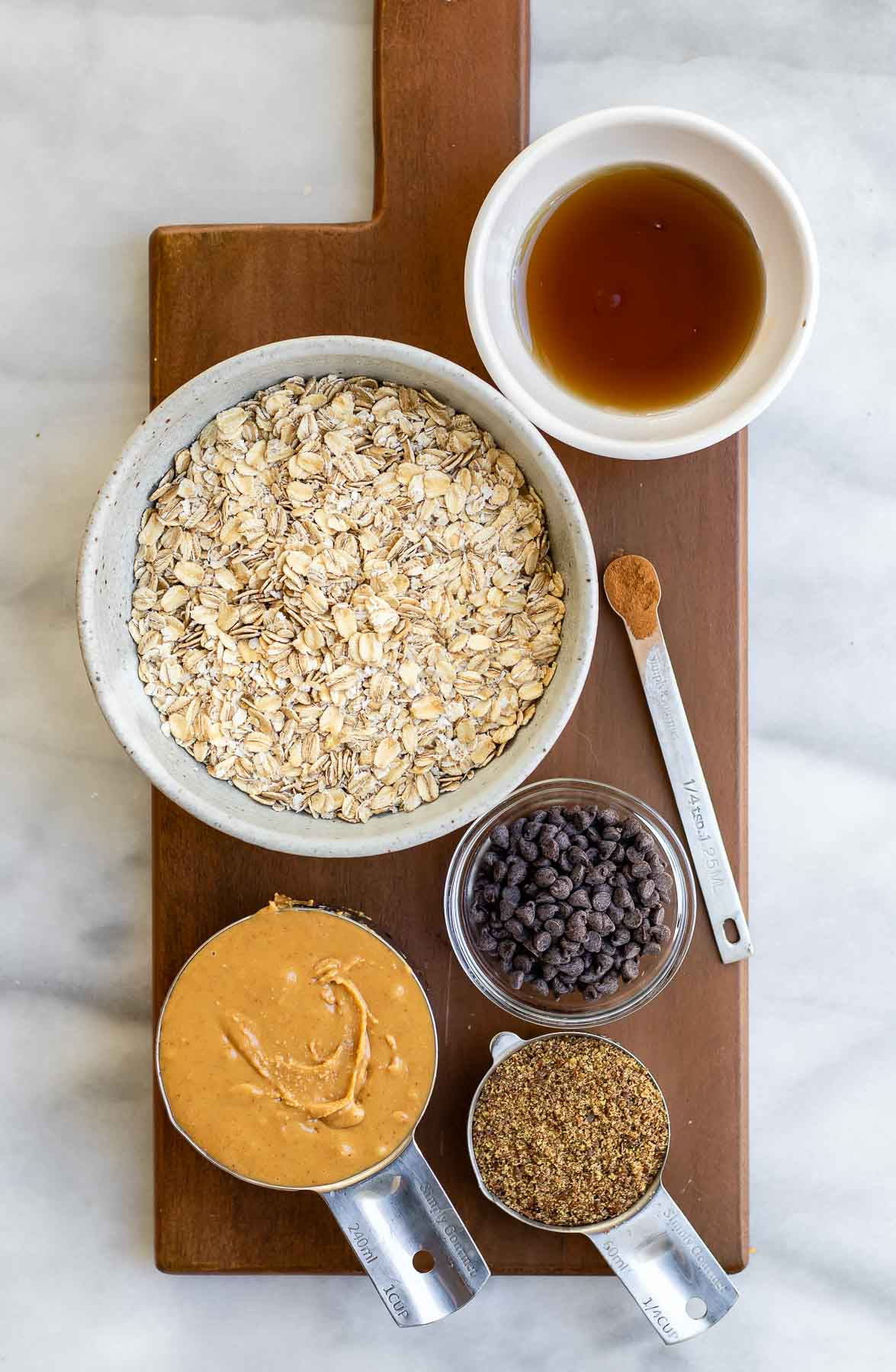 Ingredients for the recipe arranged in small bowls.