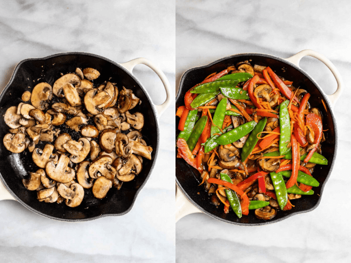 Two images next to each other showing the process of making the recipe.