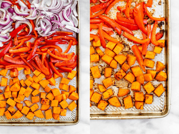 Two images showing the veggies before and after going in the oven.