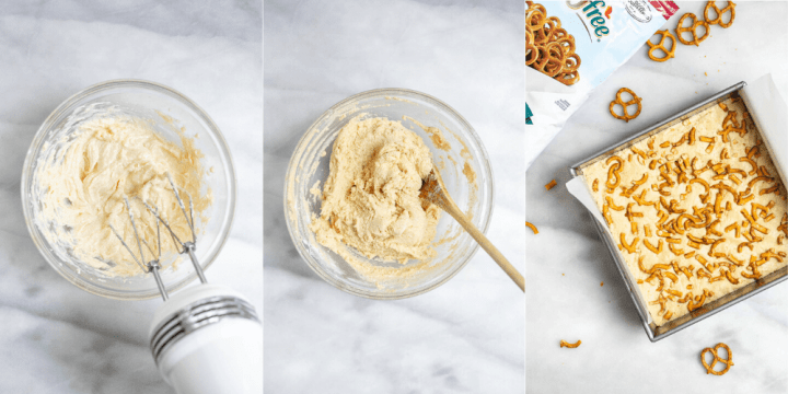 Three images showing how to make the shortbread crust.