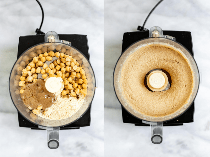 Two images of the food processor showing how to make the recipe.