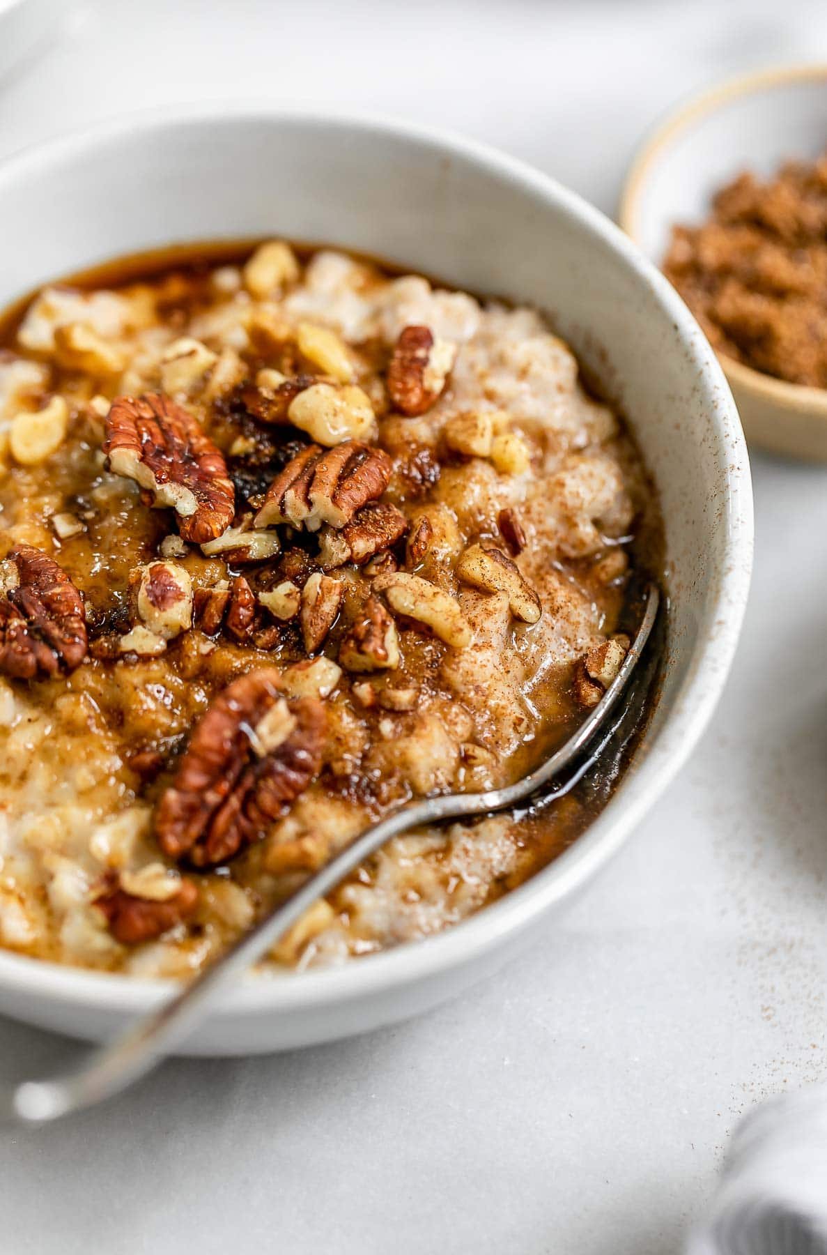 Up close image of the oatmeal with cinnamon and sugar on top.