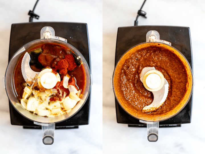 Two images showing how to make the sauce.