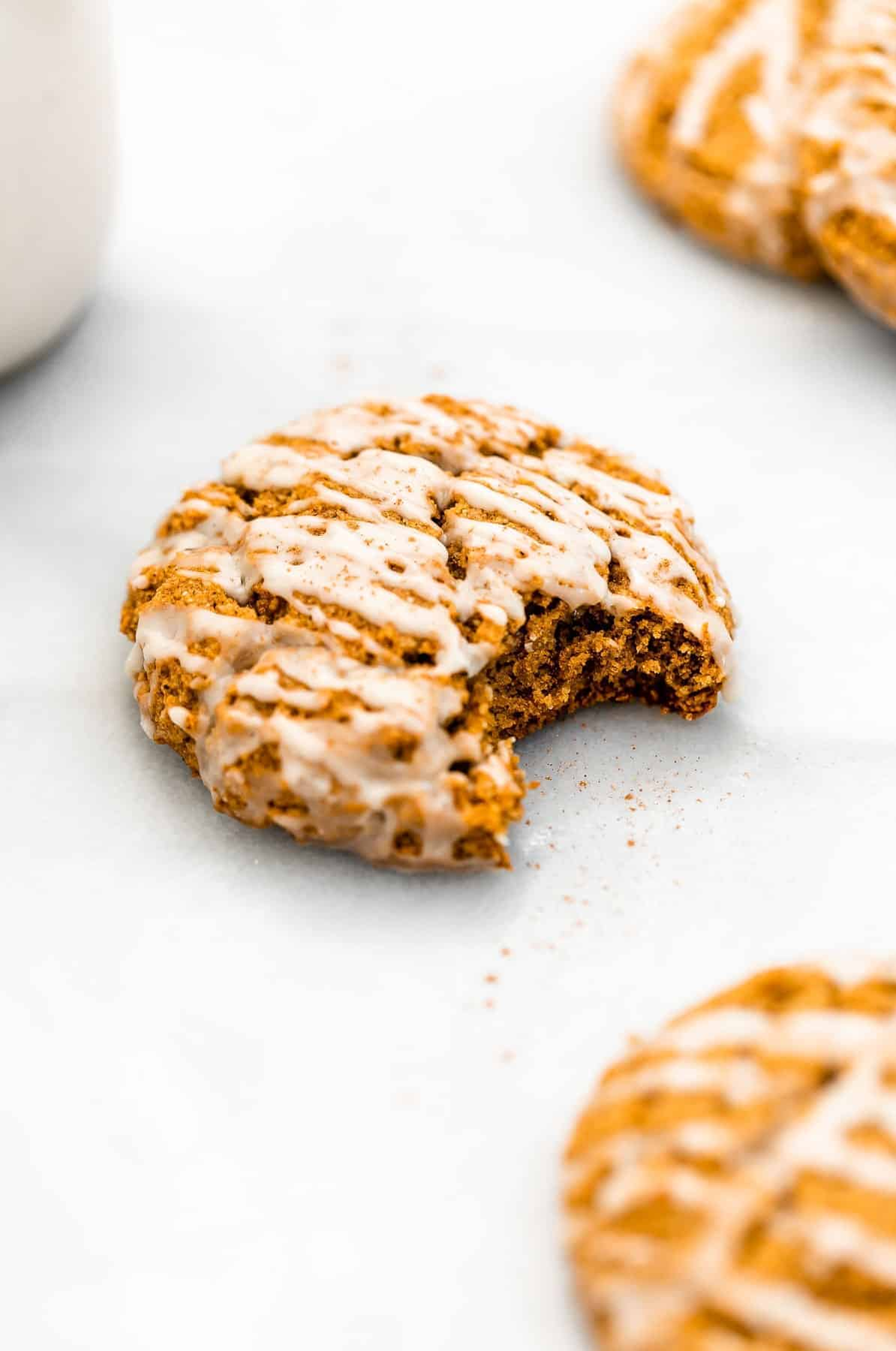 pumpkin cookie with one bite taken out