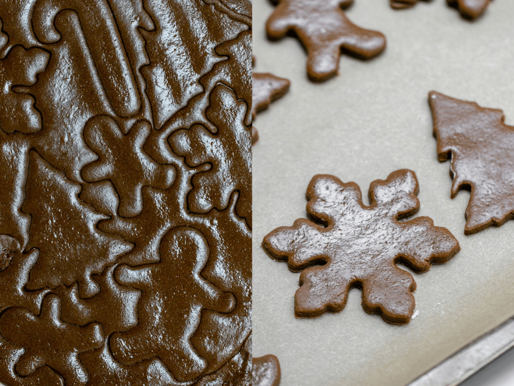 Showing the process of making the cutout cookies.