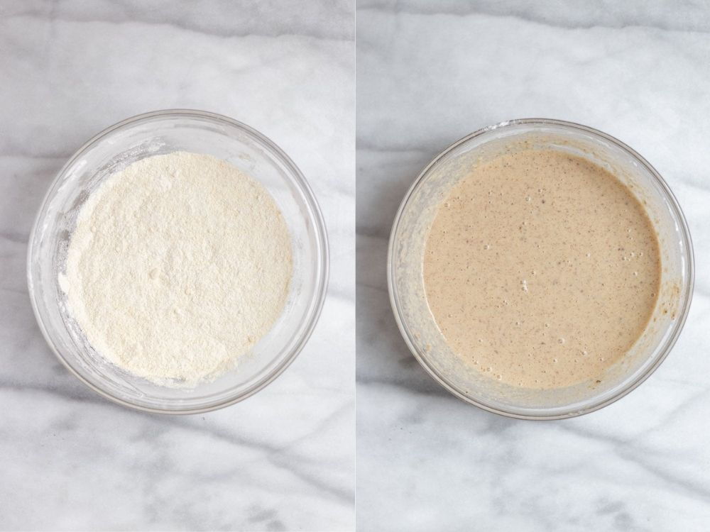 Two photos showing how to make the batter.