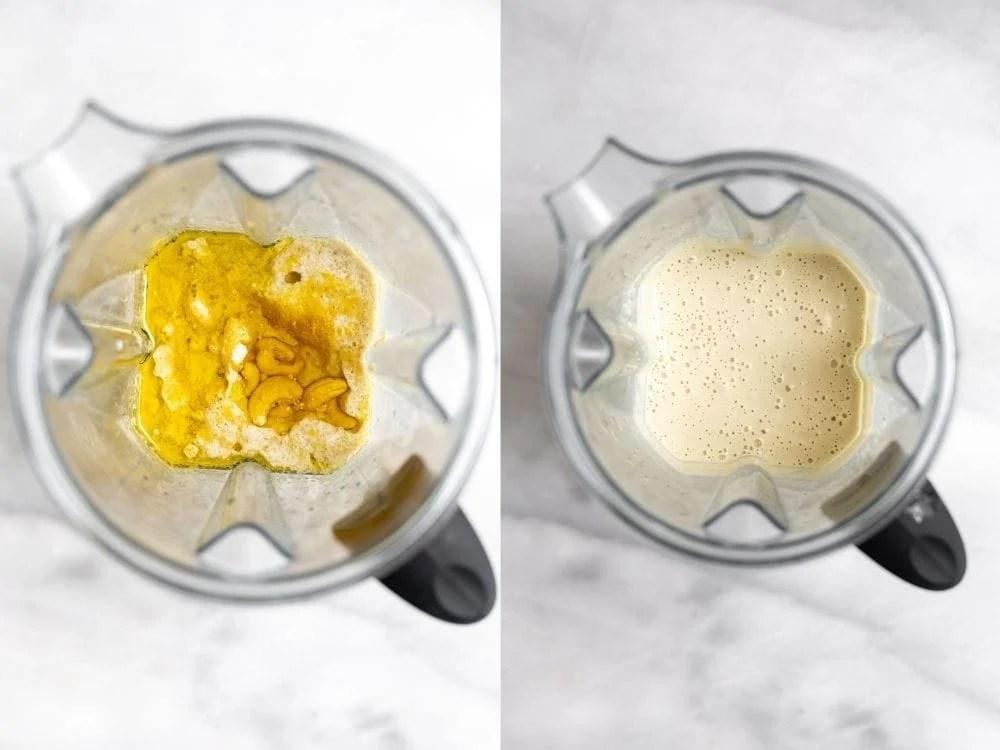 Blending the cream sauce in a blender.