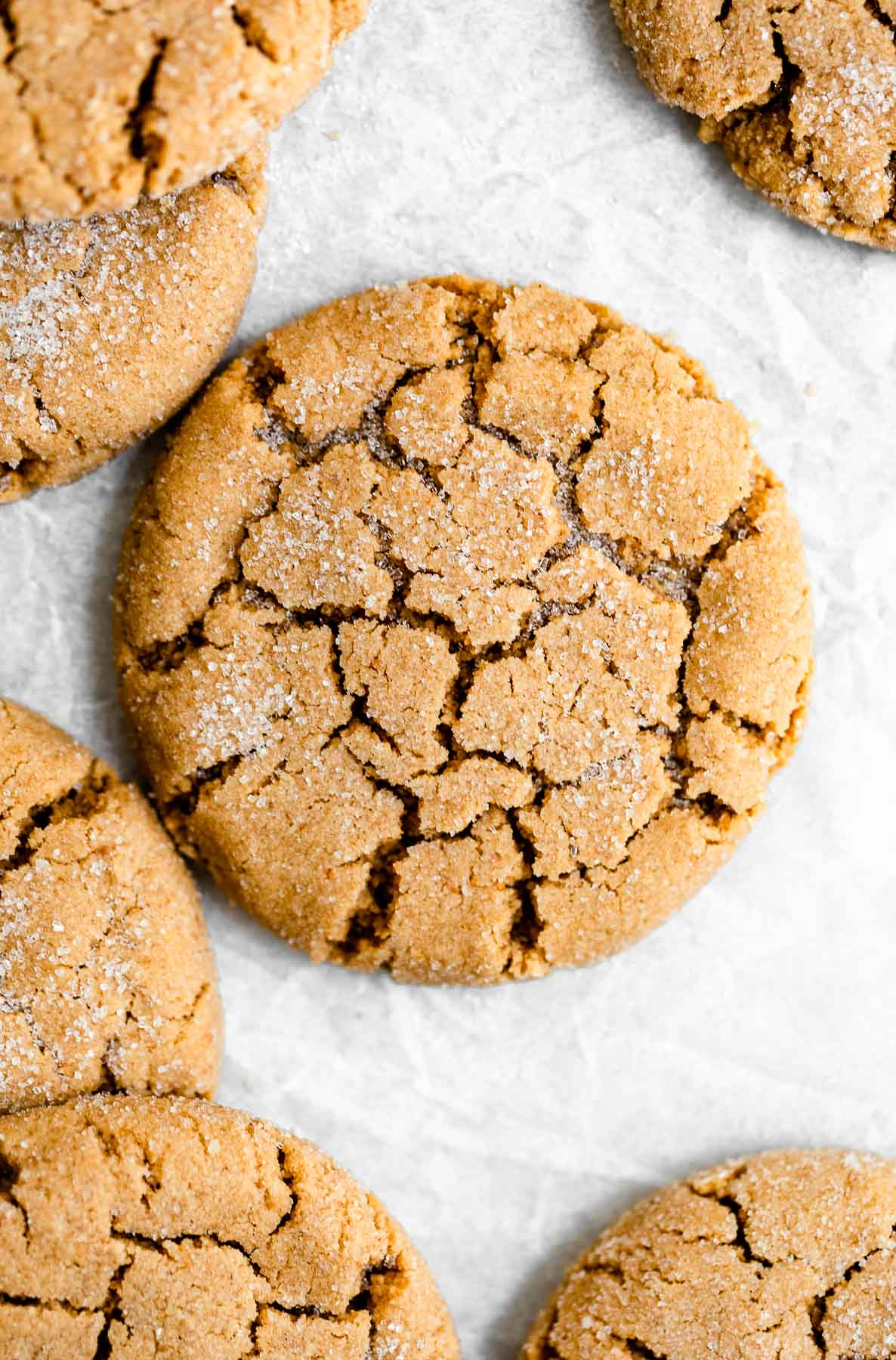 Up close and overhead shot of one peanut butter cookie with sugar on top.