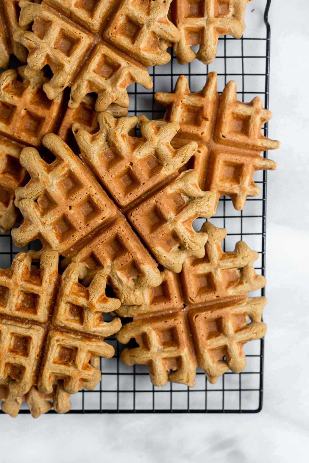 Waffles on a cooling rack.