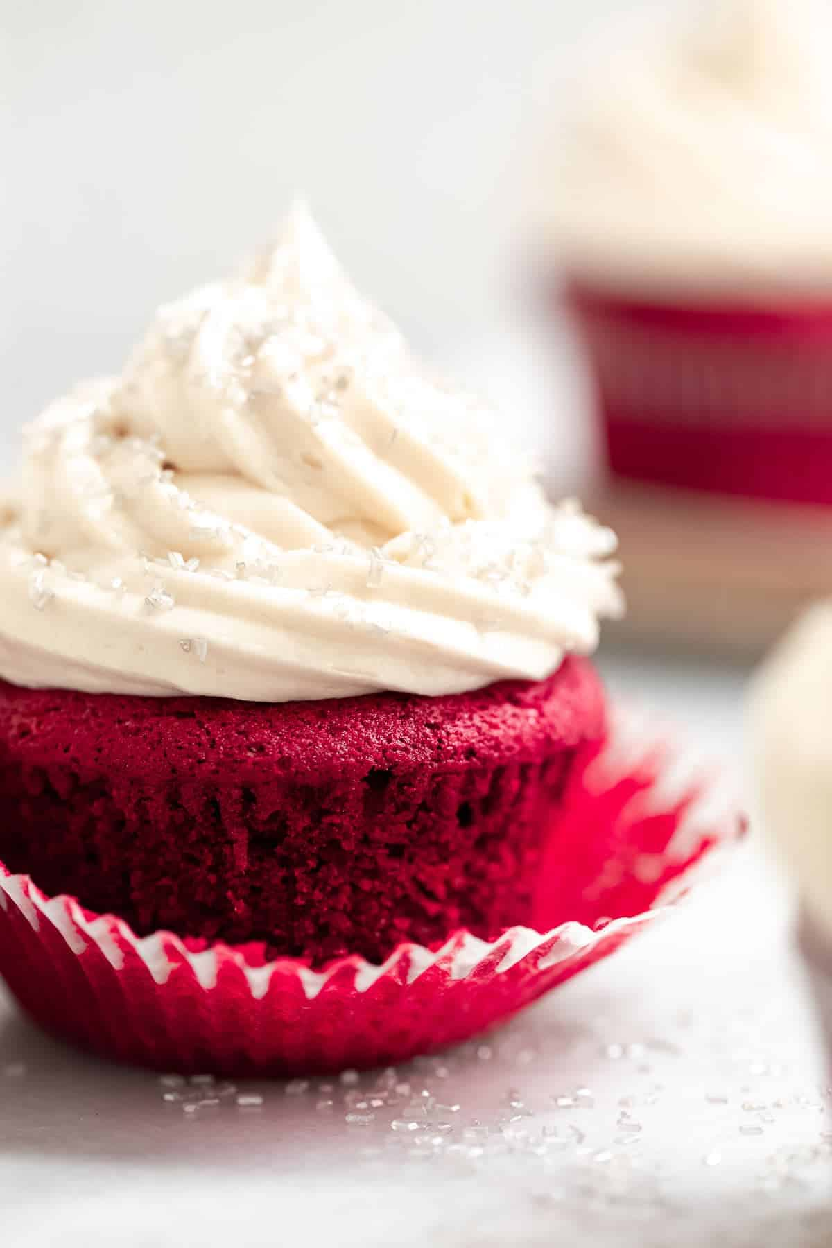 up close image of one cupcake with buttercream on top