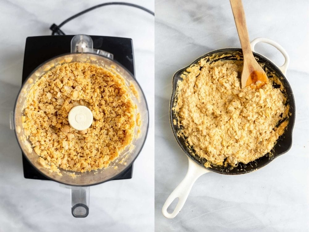 chickpea filling in a skillet