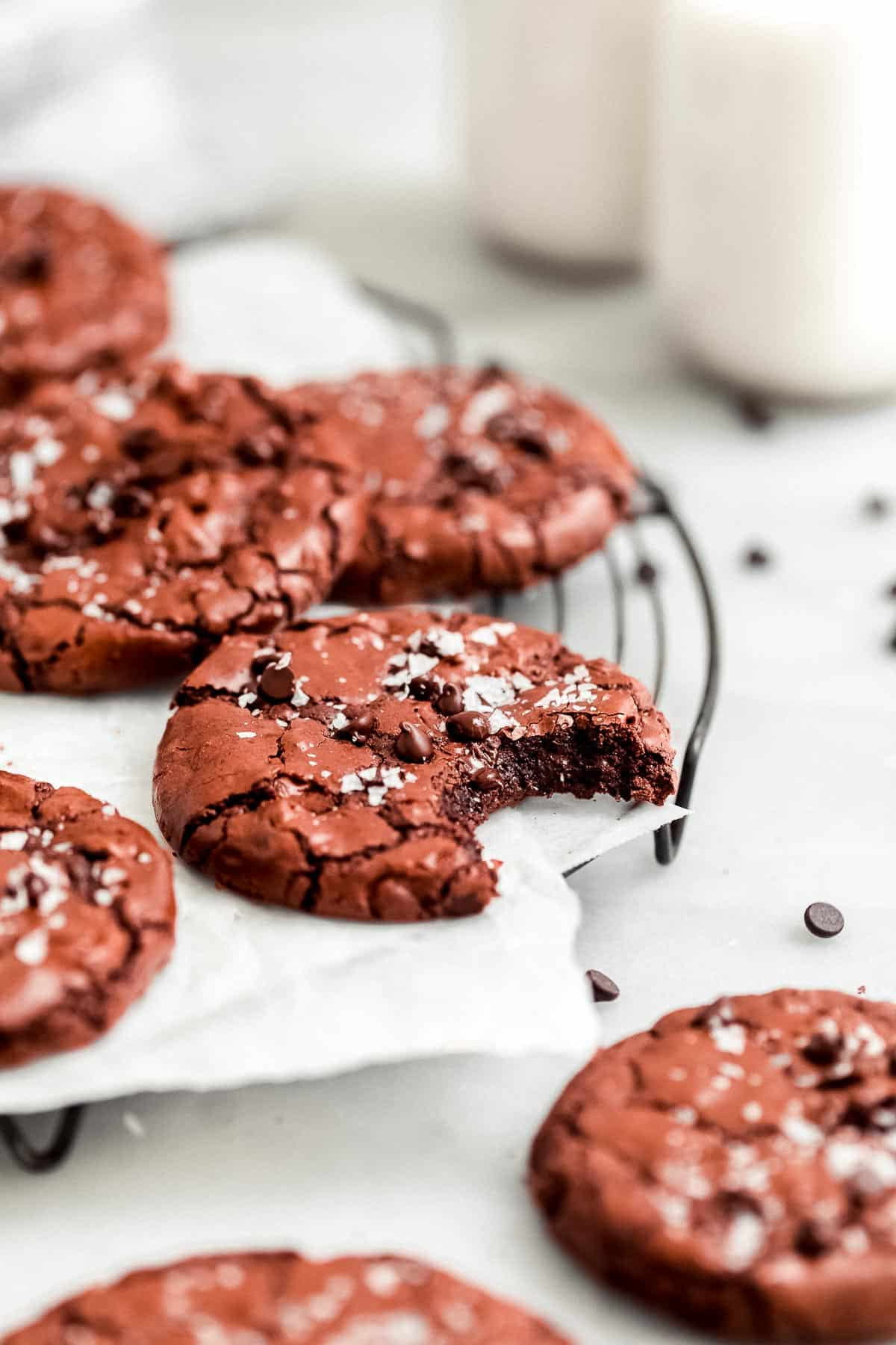 gluten free chocolate brownie cookies on a wire rack