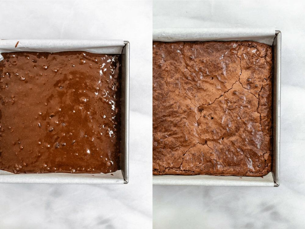Brownies in a pan after baking