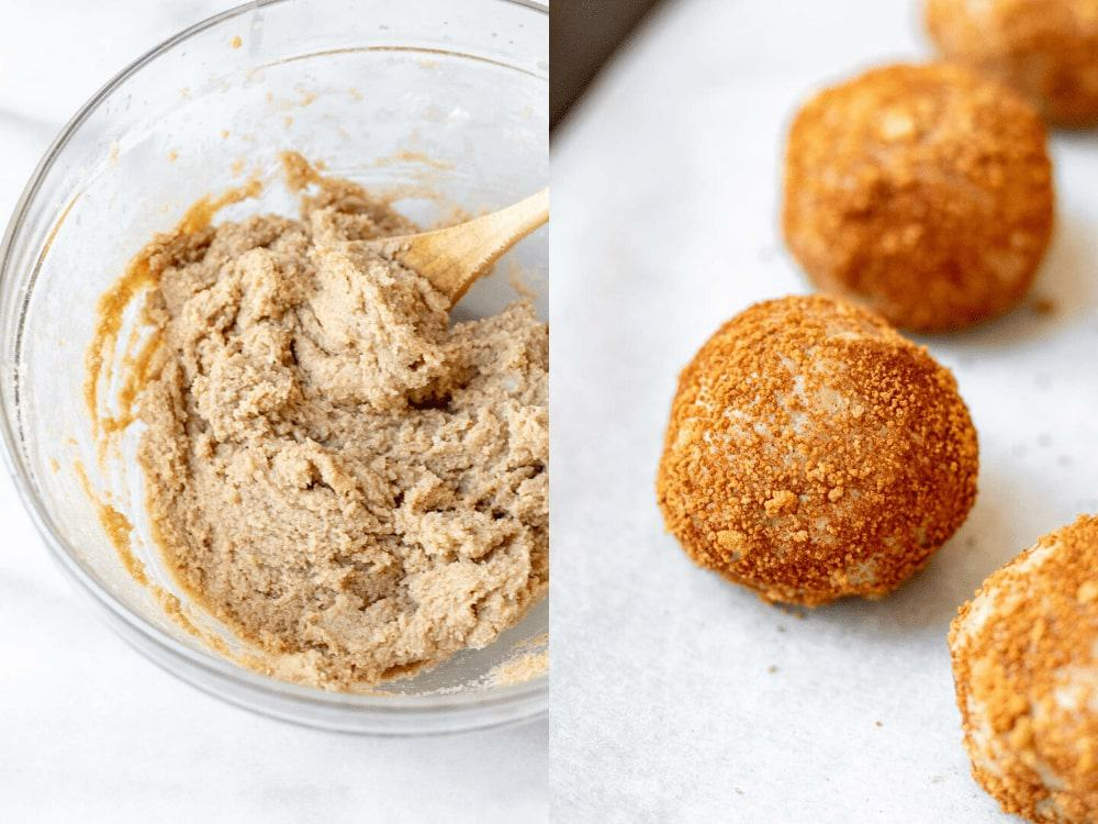 Two images showing the dough and the rolled cookies before going in the oven.