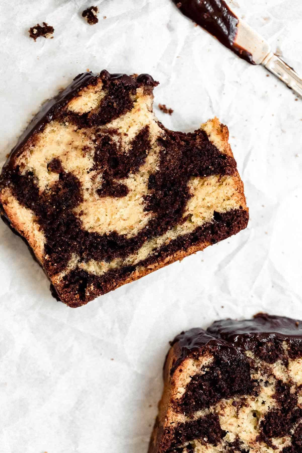 gluten free marble pound cake with a bite taken out