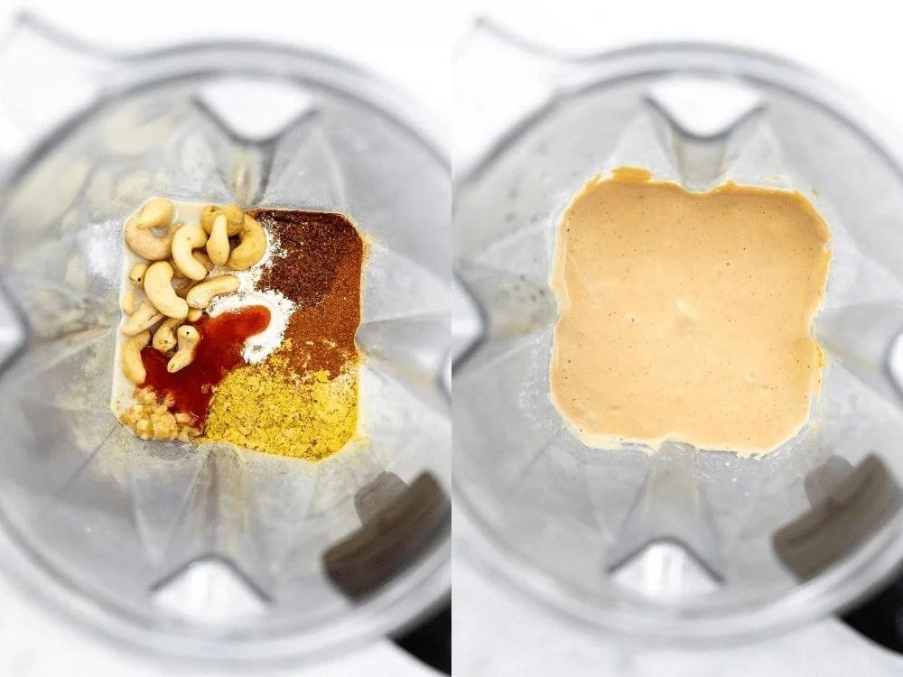 vegan cashew queso in a blender