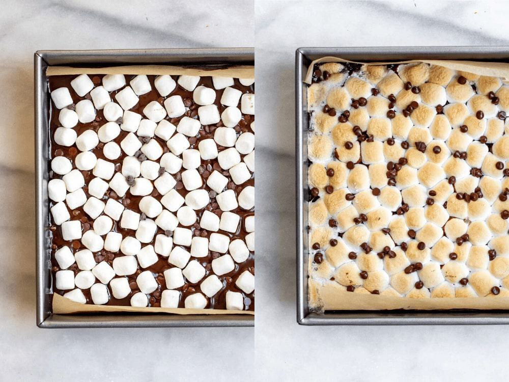 marshmallows in the pan before and after baking